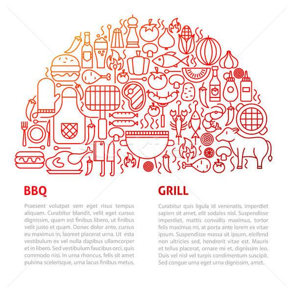 BBQ grill vonal sablon skicc terv Stock fotó © Anna_leni