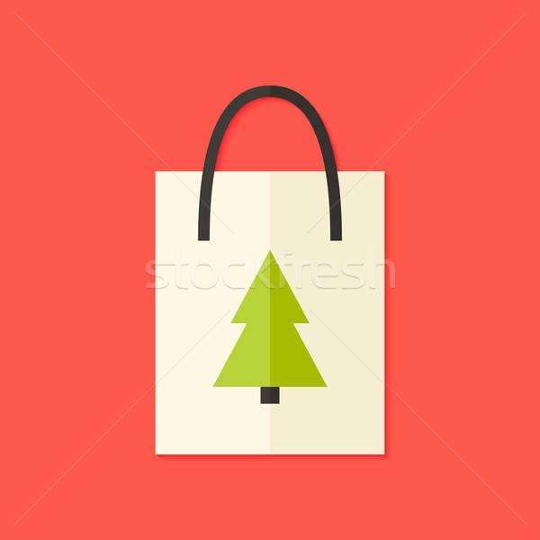 Shopping Pack with Christmas Tree Flat Icon Stock photo © Anna_leni