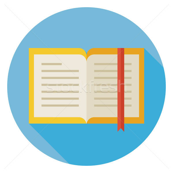 Flat Open Book with Bookmark Circle Icon with Long Shadow Stock photo © Anna_leni