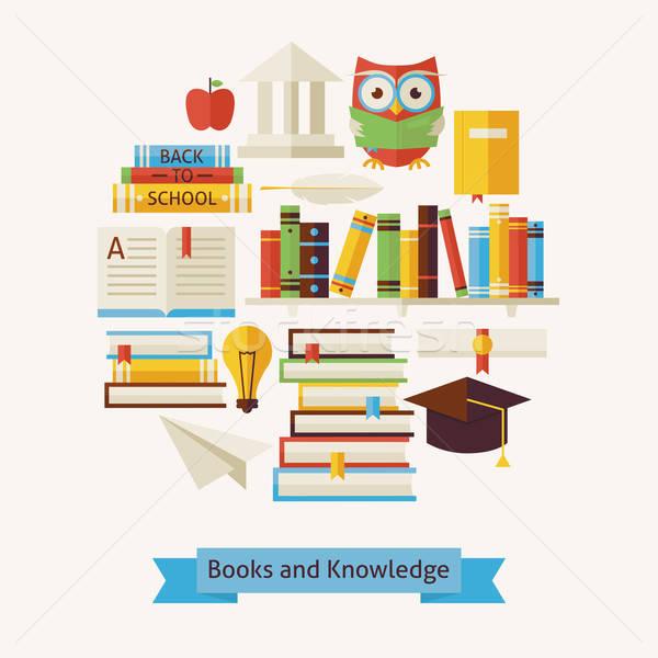 Vector stijl boeken onderwijs kennis objecten Stockfoto © Anna_leni
