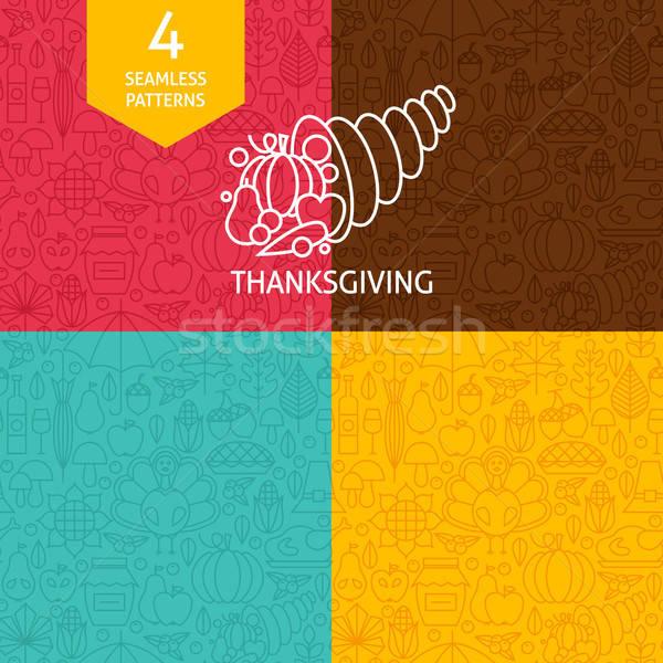 Thin Line Thanksgiving Day Holiday Patterns Set Stock photo © Anna_leni