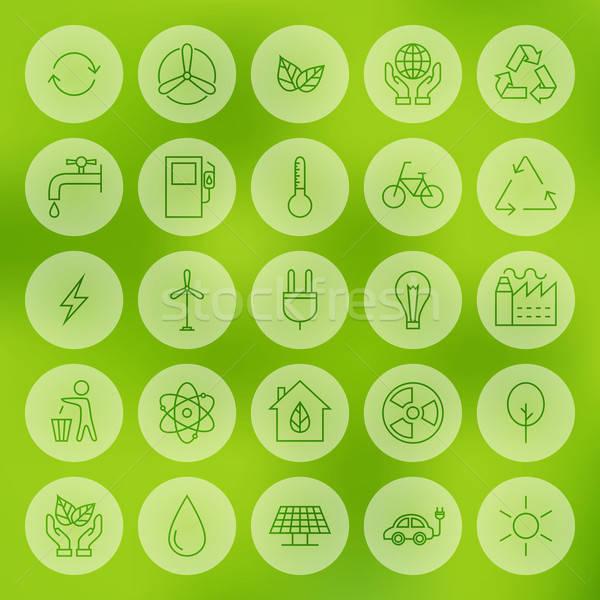 Line Circle Web Ecology Energy Power Icons Set Stock photo © Anna_leni