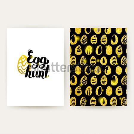 Easter egg hunt manifesti oro pattern design Foto d'archivio © Anna_leni