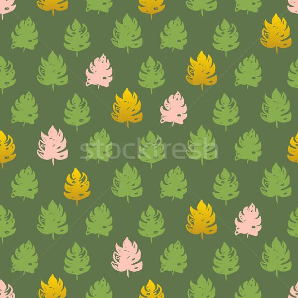 Stock fotó: Pálmalevél · festék · végtelen · minta · kézzel · rajzolt · trópusi · növény