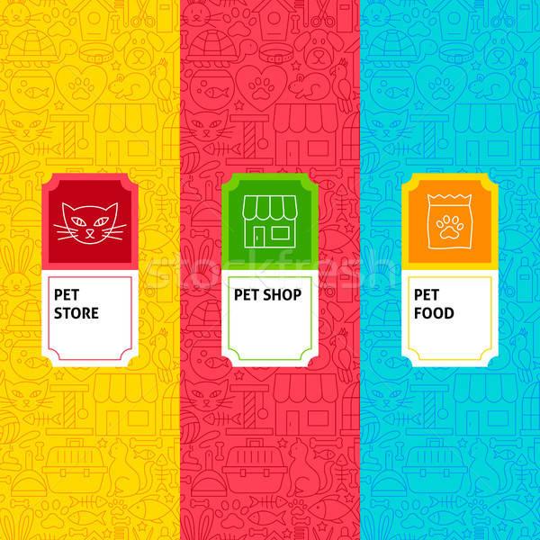 Line Pet Shop Package Labels Stock photo © Anna_leni
