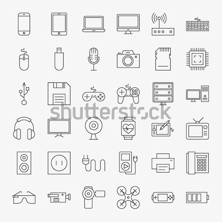 Gadgets Solid Web Icons Stock photo © Anna_leni