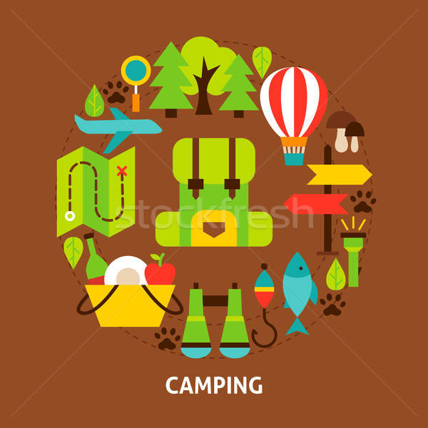 Camping Colorful Postcard Stock photo © Anna_leni
