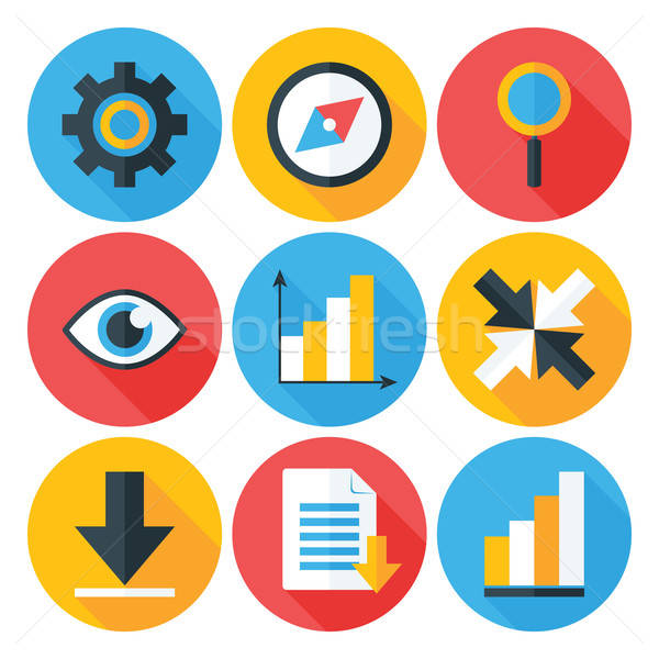 Stock photo: Business Flat Circle icons Set with Long Shadows