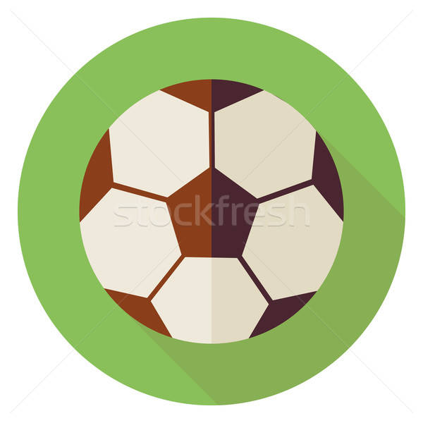 Flat Sports Ball Soccer Football Circle Icon with Long Shadow Stock photo © Anna_leni