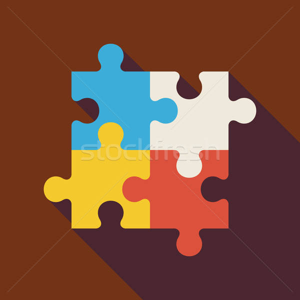 Flat Puzzle Illustration with long Shadow Stock photo © Anna_leni