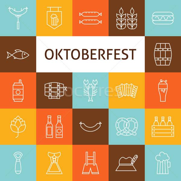 Stock photo: Vector Line Art Modern Oktoberfest Beer Holiday Icons Set