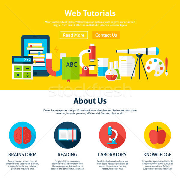 Web Tutorials Flat Web Design Template Stock photo © Anna_leni