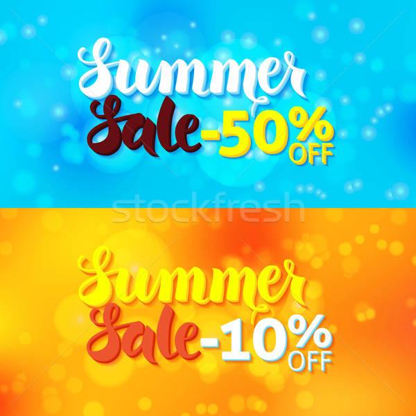 Verão venda promo banners abstrato turva Foto stock © Anna_leni