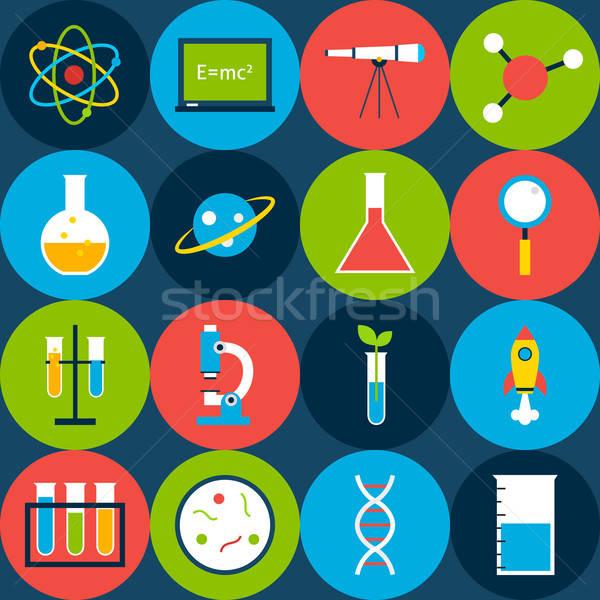Oscuro azulejo ciencia círculos estilo vector Foto stock © Anna_leni