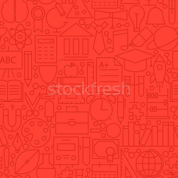 Stock photo: Line Education Red Seamless Pattern