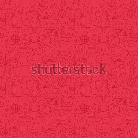 Red Grill Menu Line Tile Pattern Stock photo © Anna_leni