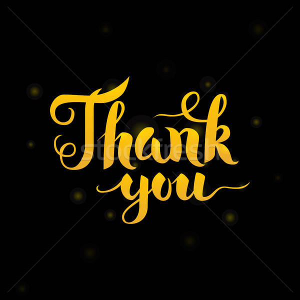 Stock photo: Thank You Gold Lettering over Black