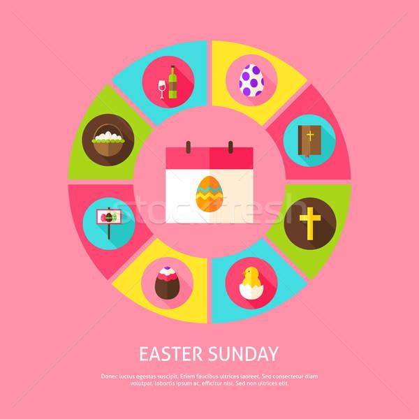 Húsvét tavasz ünnep infografika kör ikonok Stock fotó © Anna_leni