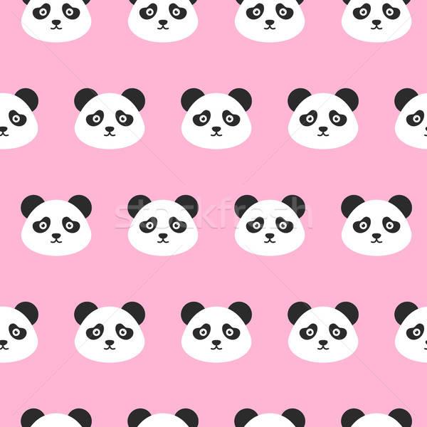 Panda Heads Seamless Pattern Stock photo © Anna_leni