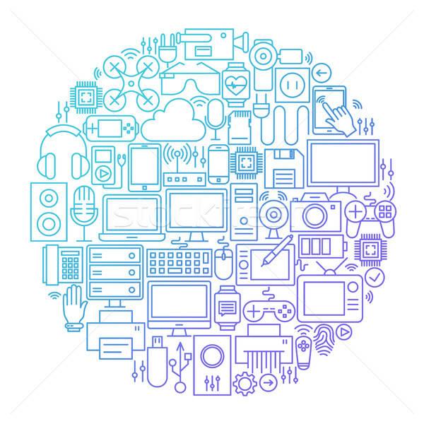 Szerkentyű vonal ikon kör terv technológia Stock fotó © Anna_leni