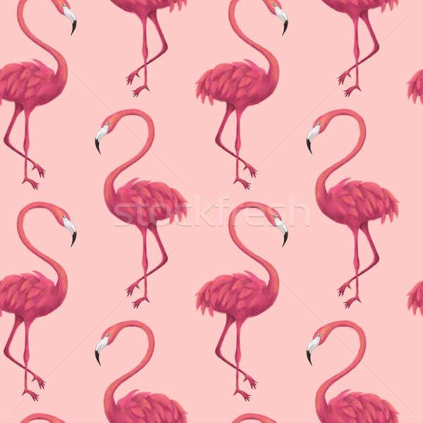 Pembe örnek yaz tropikal moda Stok fotoğraf © Anna_leni