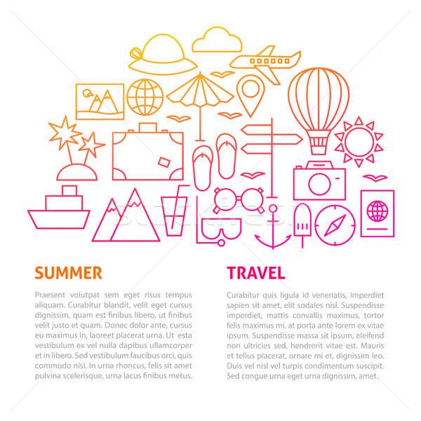 Summer Travel Line Template Stock photo © Anna_leni