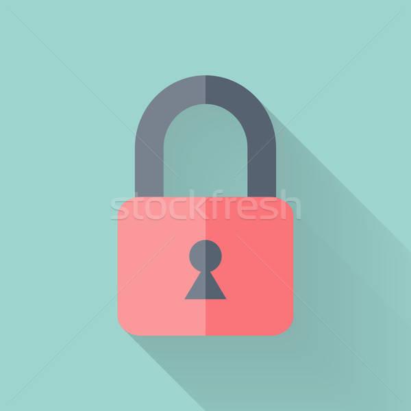 Gesloten hangslot icon mint veiligheid teken Stockfoto © Anna_leni