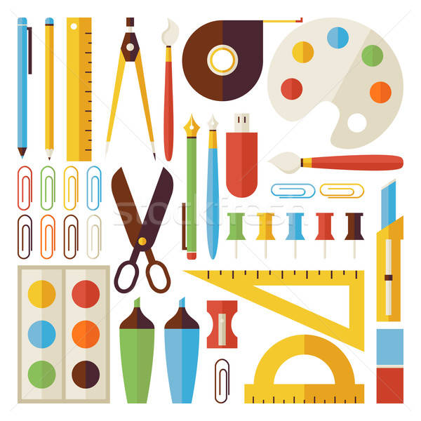 Foto stock: De · volta · à · escola · objetos · escritório · conjunto · isolado · branco