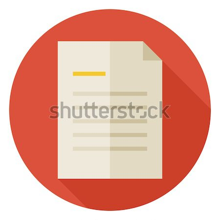 Flat Office Paper Letter Circle Icon with Long Shadow Stock photo © Anna_leni