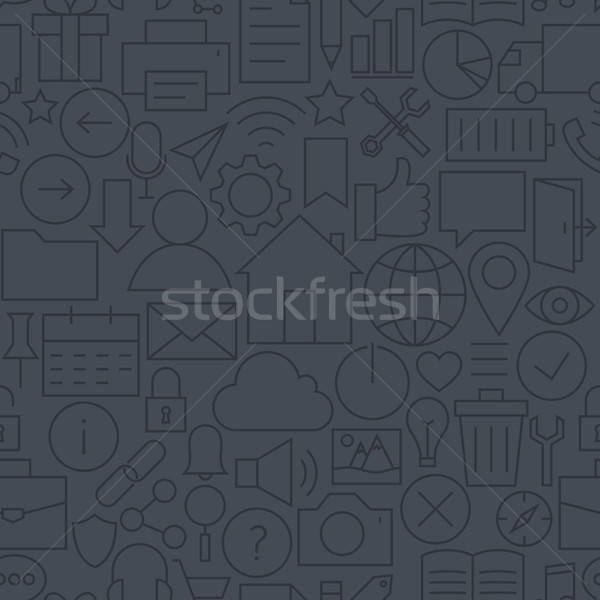 Thin Line Website Mobile User Interface Dark Seamless Pattern Stock photo © Anna_leni