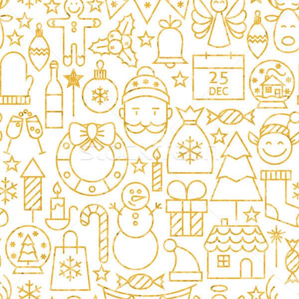 Vékony vonal arany vidám karácsony végtelen minta Stock fotó © Anna_leni