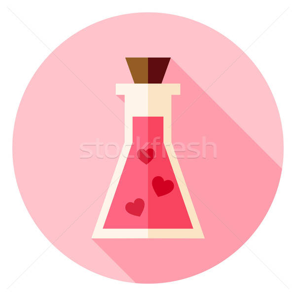 Stock photo: Love Poison with Hearts Circle Icon with long Shadow