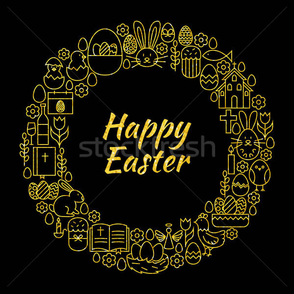 Happy Easter Gold Black Line Art Icons Circle Stock photo © Anna_leni