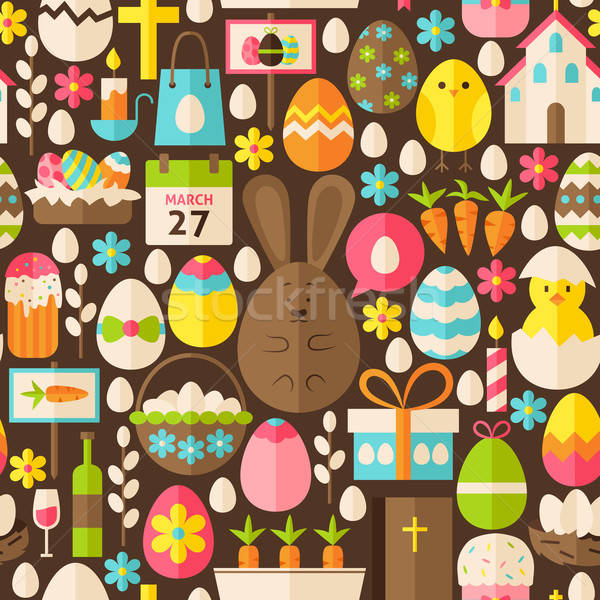 Happy Easter Holiday Vector Flat Brown Seamless Pattern Stock photo © Anna_leni