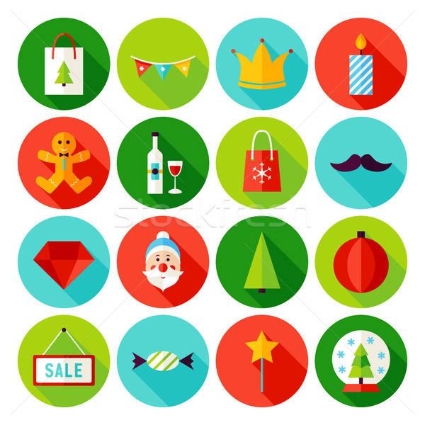 Stock photo: Merry Christmas Flat Icons