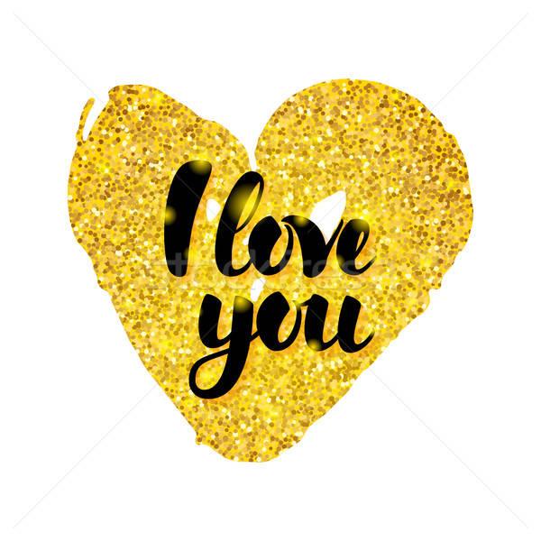 I Love You Gold Card Stock photo © Anna_leni