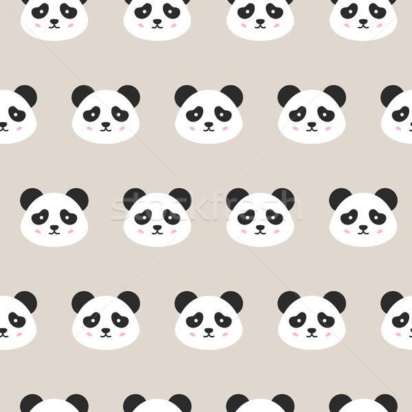 Panda Faces Seamless Pattern Stock photo © Anna_leni