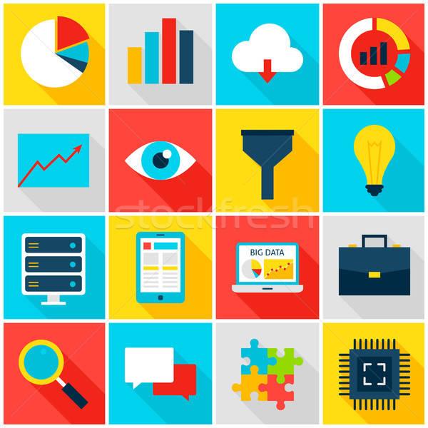 Сток-фото: большой · данные · красочный · иконки · бизнеса · аналитика