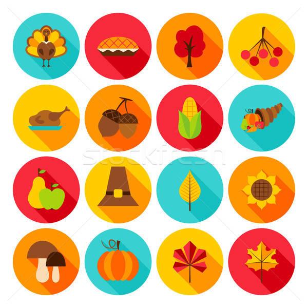 Thanksgiving Day Flat Icons Stock photo © Anna_leni
