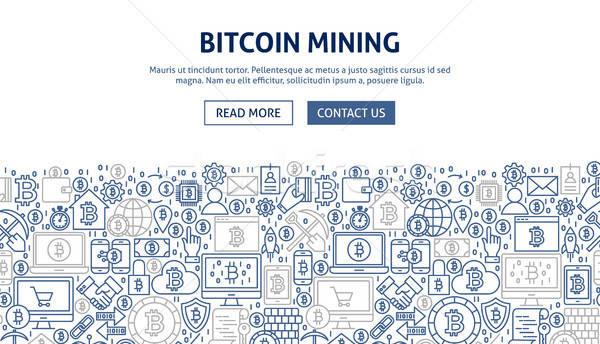 Bitcoin madencilik afiş dizayn hat web Stok fotoğraf © Anna_leni