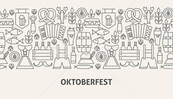 Oktoberfest banner lijn web design achtergrond kunst Stockfoto © Anna_leni