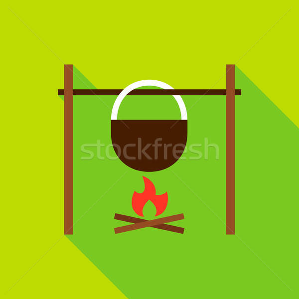 Campfire with Kettle Object Icon Stock photo © Anna_leni