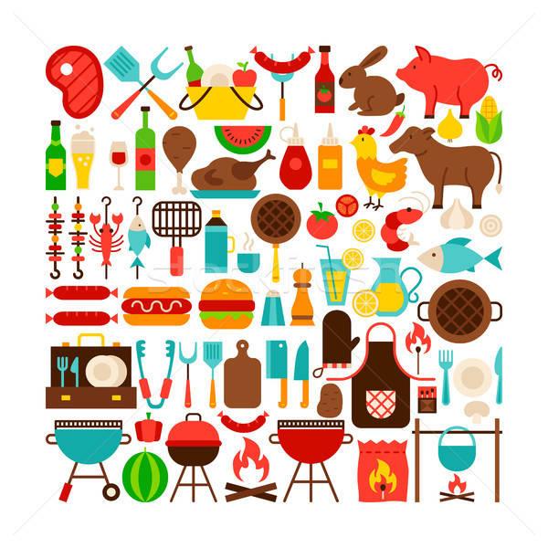 Barbecue izolált tárgyak nagy szett terv színes Stock fotó © Anna_leni