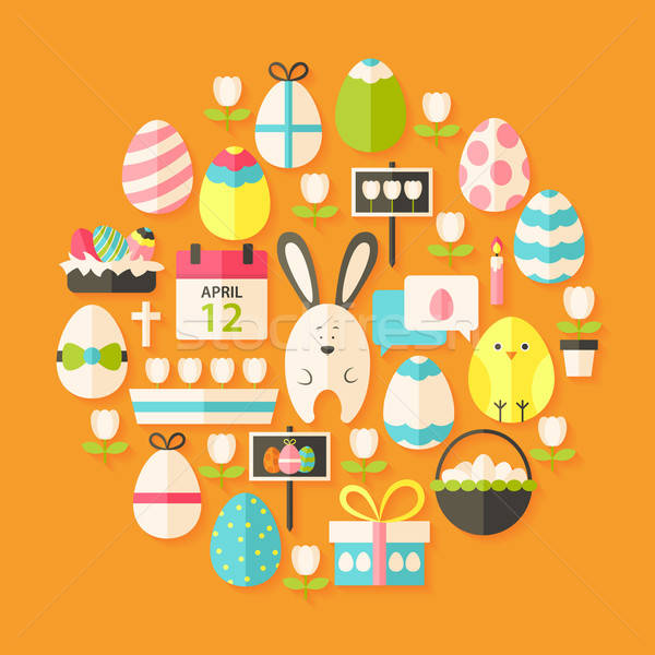 Easter Flat stylized Icons Set circular shaped with shadow Stock photo © Anna_leni
