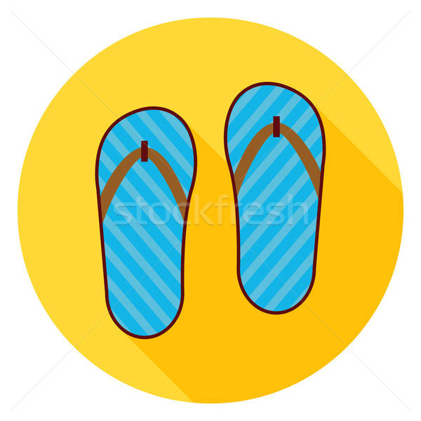 Flat Flip Flops Shoes Circle Icon with Long Shadow Stock photo © Anna_leni