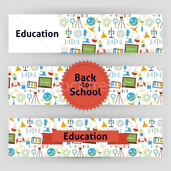 Education School and Science Vector Template Banners Set in Mode Stock photo © Anna_leni