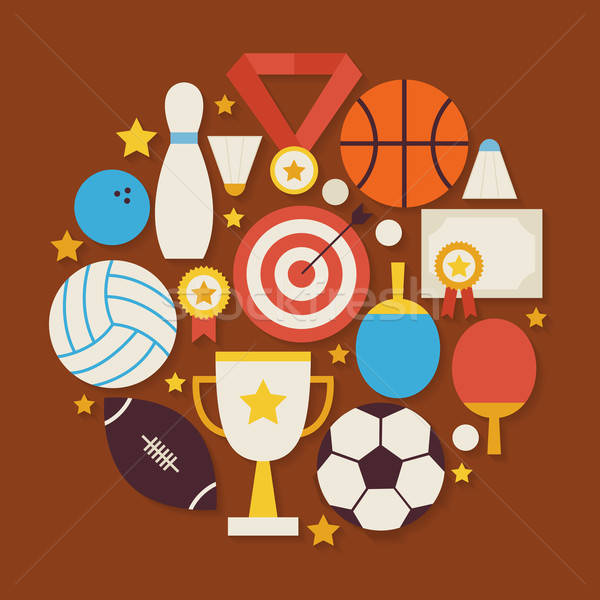 Sport Recreation and Competion Vector Flat Design Circle Shaped  Stock photo © Anna_leni