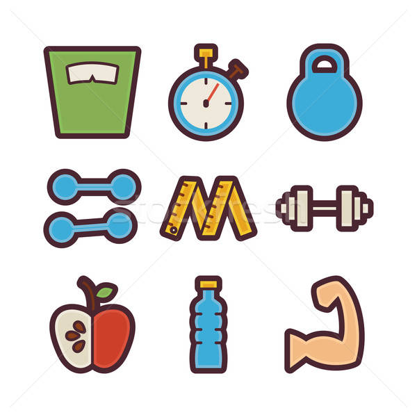 Fitness and Dieting Items Modern Flat Icons Set Stock photo © Anna_leni