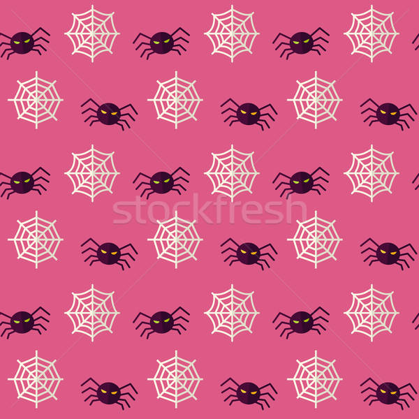Vector Flat Seamless Scary Spider Halloween Pattern Stock photo © Anna_leni