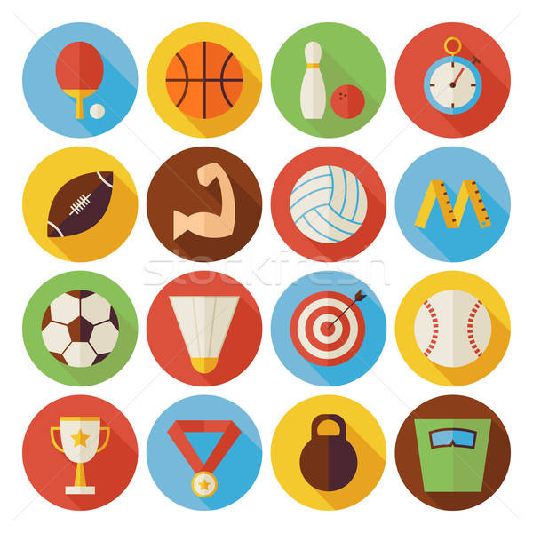 Flat Sport Recreation and Competition Circle Icons Set with long Stock photo © Anna_leni